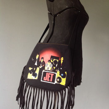 JET - Upcycled Rock T-Shirt Fringe Purse - ooak