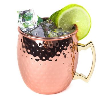 18 oz Hammered Copper-plated Moscow Mule Mugs