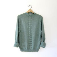 Vintage Pendleton wool sweater. Fishermans sweater. Soft cable knit pullover. Teal green knit mock neck sweater.