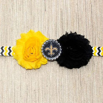 NFL New Orleans Saints inspired headband- perfect for football season!  New Orleans Saints Baby Headband