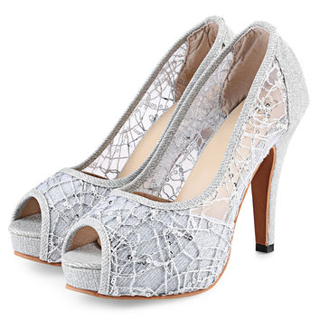 Women High Heels Brand Lace Shoes Pointed Toe Women Pumps Stiletto Thin Heel Sapato Feminino Shoes Plus Size Sexy Wedding Shoes