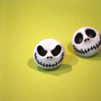 Nightmare Before Christmas Earrings -- Studs, Halloween, Jack Skellington Earrings