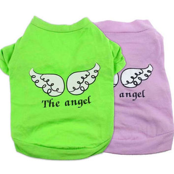 Cute Dog & Cat Clothes Angel Wing Pattern T-shirt