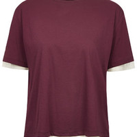 Tulle Layered Top by Boutique - Burgundy