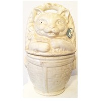 American Bisque Cat Basket Pottery Planter
