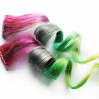 Human Hair Extension, Spring extension hair, extension, pink, purple, green, blue, orange clip in hair, Tie Dye Colored Hair - Psychedelic