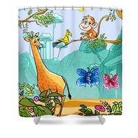 New Friends in the Jungle Shower Curtain for Sale by Ruth Moratz