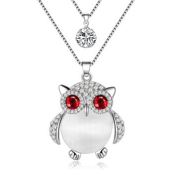 Statement Crystal Opal Owl Necklace Pendant Long Rhinestone Chain Collar New Fashion Animal Birds Jewelry Gift For Women