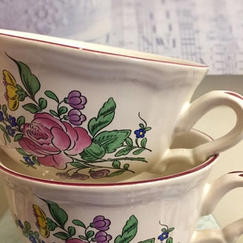 Rare set of Two KG Luneville Old Strasbourg Rose, Faience, French Large Tea Cups with their original saucers.