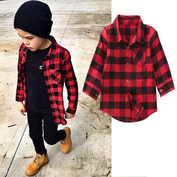 Fashion Baby Boys Girls Clothes Long Sleeve Shirt Plaids Checks Tops Blouse Clothes Outfit Toddler Kids Shirts 1-7Y