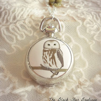 Owl Pocket Watch/Locket Charm Necklace by theblackstarboutique