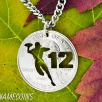 Football Quarterback with custom number, hand cut coin