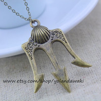 Percy Jackson Lightning Thief Necklace with Antiqued bronze Trident jewelry