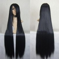 Japanese Anime Long Black Straight Cosplay Wig Ml120:Amazon:Beauty
