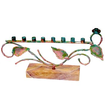 Green Patina Tree Of Life Menorah By Gary Rosenthal In Pink,multi-Colored,green,aqua Size: 6X11.5X2