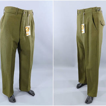 Vintage 1950s Wool Army Field Pants / 50s Wool Men's Pants / OD Wool Combat Fatigues / Military Slacks