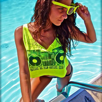 Neon Yellow Crop Tank Top Shirt TURN TABLES print  by NeonNancy