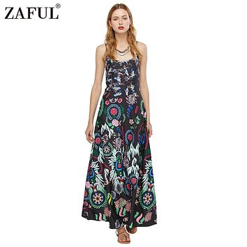 ZAFUL Brand 2016 Summer Bohemian Sleeveless Casual Women Ethnic Printed Sexy Spaghetti Strap Long Beach Maxi Dress Vestidos