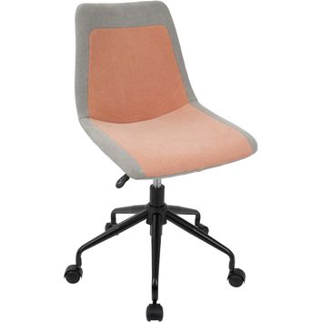 Orzo Height Adjustable Office Task Chair, Black & Orange Denim