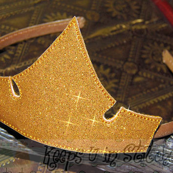 Sleeping Beauty Fairytale PRINCESS Aurora Inspired TIARA Crown Size SMALL-Infant/Toddler-Child-Teen-Adult~Gold Glitter Vinyl Smooth Headband