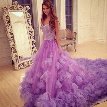 Amazing Violet Purple Prom Dresses Sweetheart Prom Dresses With Long train Tulle Beaded Prom Dress With Flower Embelishment