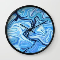 Marbled Frenzy Electric Blue Wall Clock by Lisa Argyropoulos