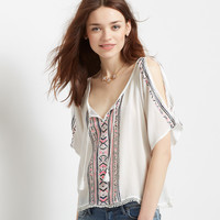 Southwest Cold-Shoulder Peasant Top