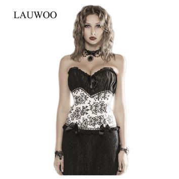 LAUWOO High quality Women's  lace embroidered corset bustier sexy Chiffon Bow bustier Nightclubs tops women overbust corset