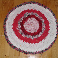 "ON SALE""""""""""Rag Rug Crocheted Upcycled/round floor mat made from upcycled tshirts-80cm"