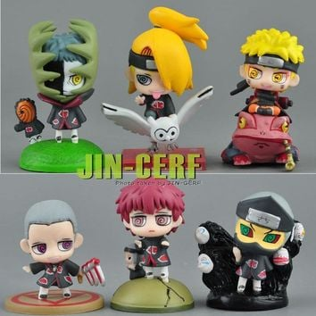 Naruto Sasauke ninja 2018 new 6 pcs set  Anime  Family Mini Action Figures Toys Cake topper Doll Toy Gift AT_81_8