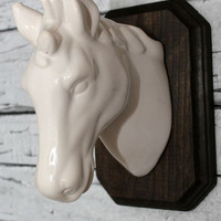 Faux taxidermy // faux head // horse // western decor // lodge decor // boys room // equestrian // faux head // horse lovers //