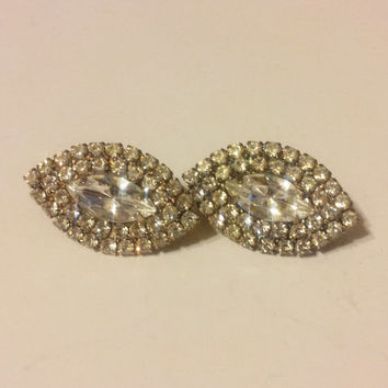 Vintage Clear Rhinestone Clip On Earrings Silver Tone Marquis