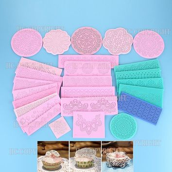Flower Lace Silicone Fondant Sugarcraft Wedding Cake Decorating Mould Chocolate Confectionary Cupcake Decor Baking Tool Bakeware