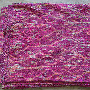 Ikat Kantha Quilt Blanket - Cotton Quilted Bedspreads,Throws,Ralli,Gudari Handmade Tapestery REVERSIBLE Bedding In Queen Size