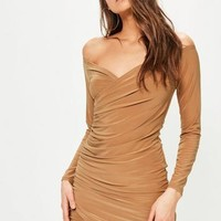 Missguided - Camel Slinky Bardot Bodycon Dress