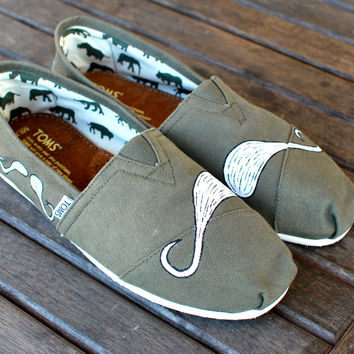 Olive Green Many Mustache TOMS