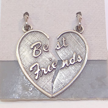 Sale - Valentines Day Vintage Beau Two Part Sterling Heart Charm by Beau
