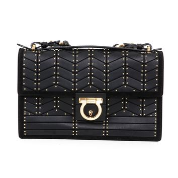 Ferragamo Black Leather Studded Purse