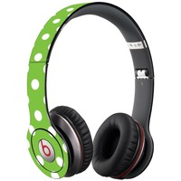 White Polka Dot on Lime Decal Skin for Beats Solo HD Headphones by Dr. Dre