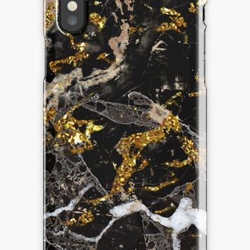 'Dark marble stone pattern with golden glitter' iPhone Case by Quaintrelle