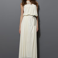 Cage Cut Out Neckline Maxi Dress in Ivory White S/M