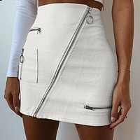 Asymmetrical High Waisted Zip Skirt