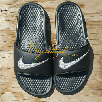 GORGEOUS Swarovski Crystal Nike Benassi Slides Bling Bling Sandals Men's Sizes Only