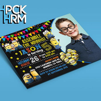 Minion Birthday Inivtation Minion by THPCKHRM Printable Etsy, Minion, Minion Printable, Minion Card, Minion Party, Minion Supply