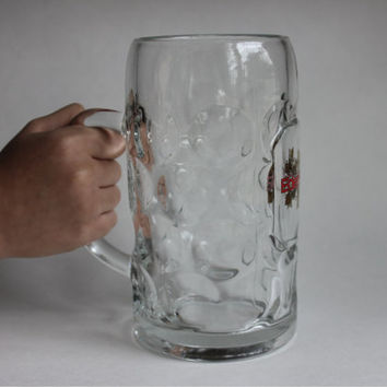 Huge 1 Liter German Mega Beer Mug, Eder Bier with Gold Crest Logo, Vintage Dimpled Glass Stein, Made in Germany, 3 Available