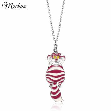 MQCHUN Movie Alice in Wonderland Pendant Cute Pink Cheshire Cat Enamel Metal Chain Necklace Charm Jewelry For Women Girls Gifts