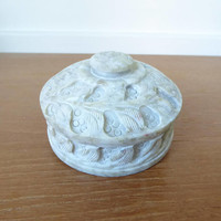 Small pale green carved stone box with lid, 3 x 2 inches