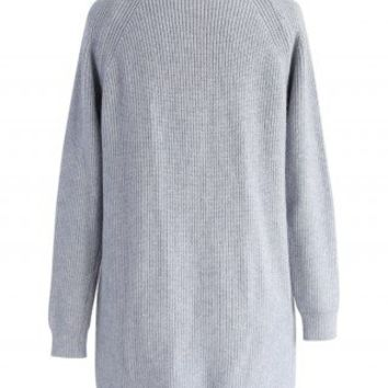 Comfy Laced Ribbed Knit Dress in Grey - Dress - Retro, Indie and Unique Fashion