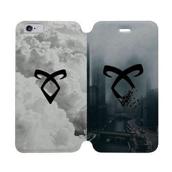 SHADOWHUNTERS ANGELIC RUNE Wallet Case for iPhone 4/4S 5/5S/SE 5C 6/6S Plus Samsung Galaxy S4 S5 S6 Edge Note 3 4 5