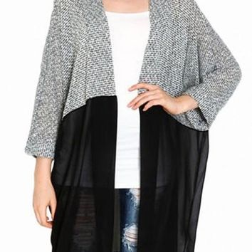 New Women Black-Grey Patchwork Grenadine Long Sleeve Casual Cardigan Sweater